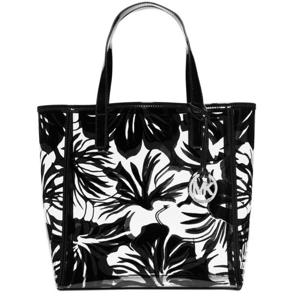 Michael Kors Eliza Black/White Large Print Tote ($157) ❤ liked on Polyvore featuring bags, handbags, tote bags, black, hand bags, black and white striped tote bag, striped tote, michael kors tote bag and striped tote bag