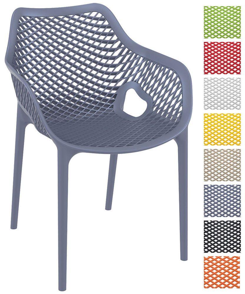Stapelstuhl Air XL Gartenstuhl Stapelbar Kunststoff Küchenstuhl Mit  Armlehne | Garten U0026 Terrasse, Möbel,