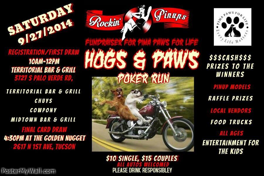 Hogs and Paws Poker Run Saturday 9/27/14 at 10am