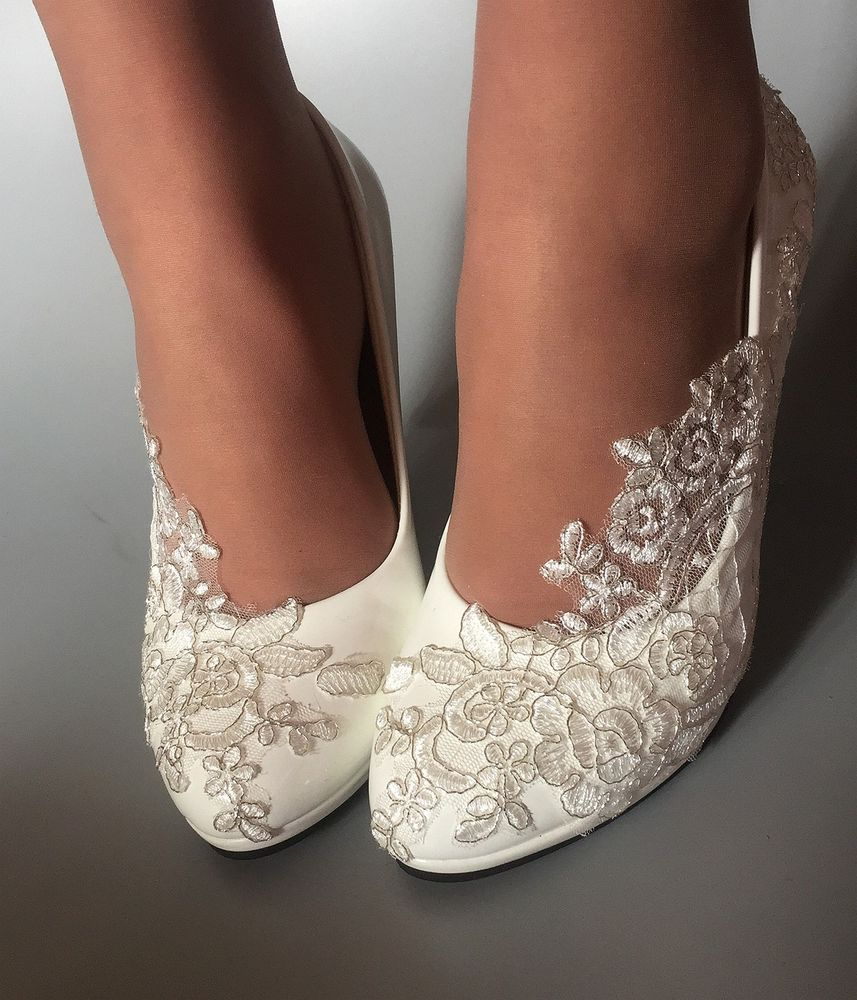 2662229efbf2 NEW Girls white lace crystal Wedding shoes Bridal heels pumps size35-40  #Unbranded #