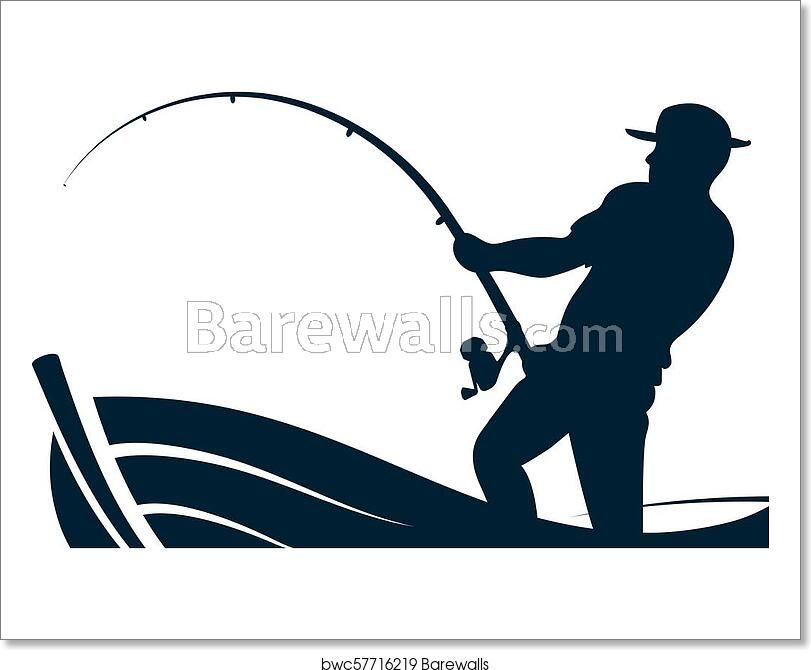 Fisherman With A Fishing Rod In The Boat Posters Art Prints Fine Art Photo Prints Boat Art