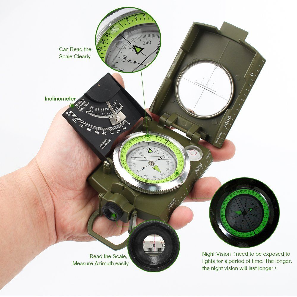 Professional Metal Sighting Compass Army Military Clinometer Camping Hiking new