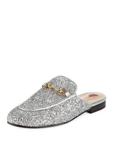 a047abb4582 X3SCJ Gucci Princetown Glitter Slide Flat Mule