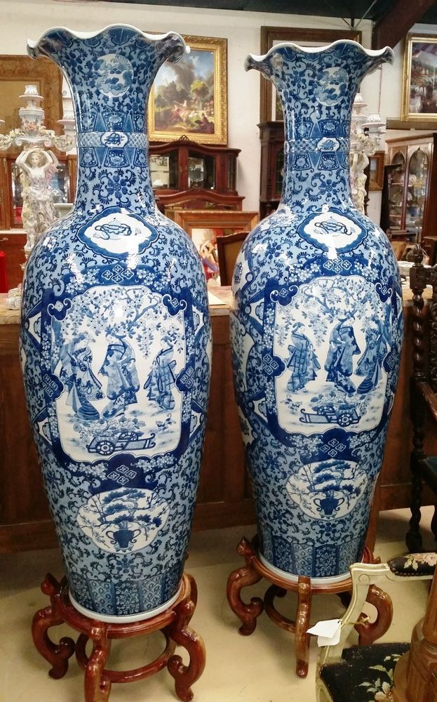 Palatial Pair 5 Ft Chinese Porcelain Vases Blue White W Rosewood