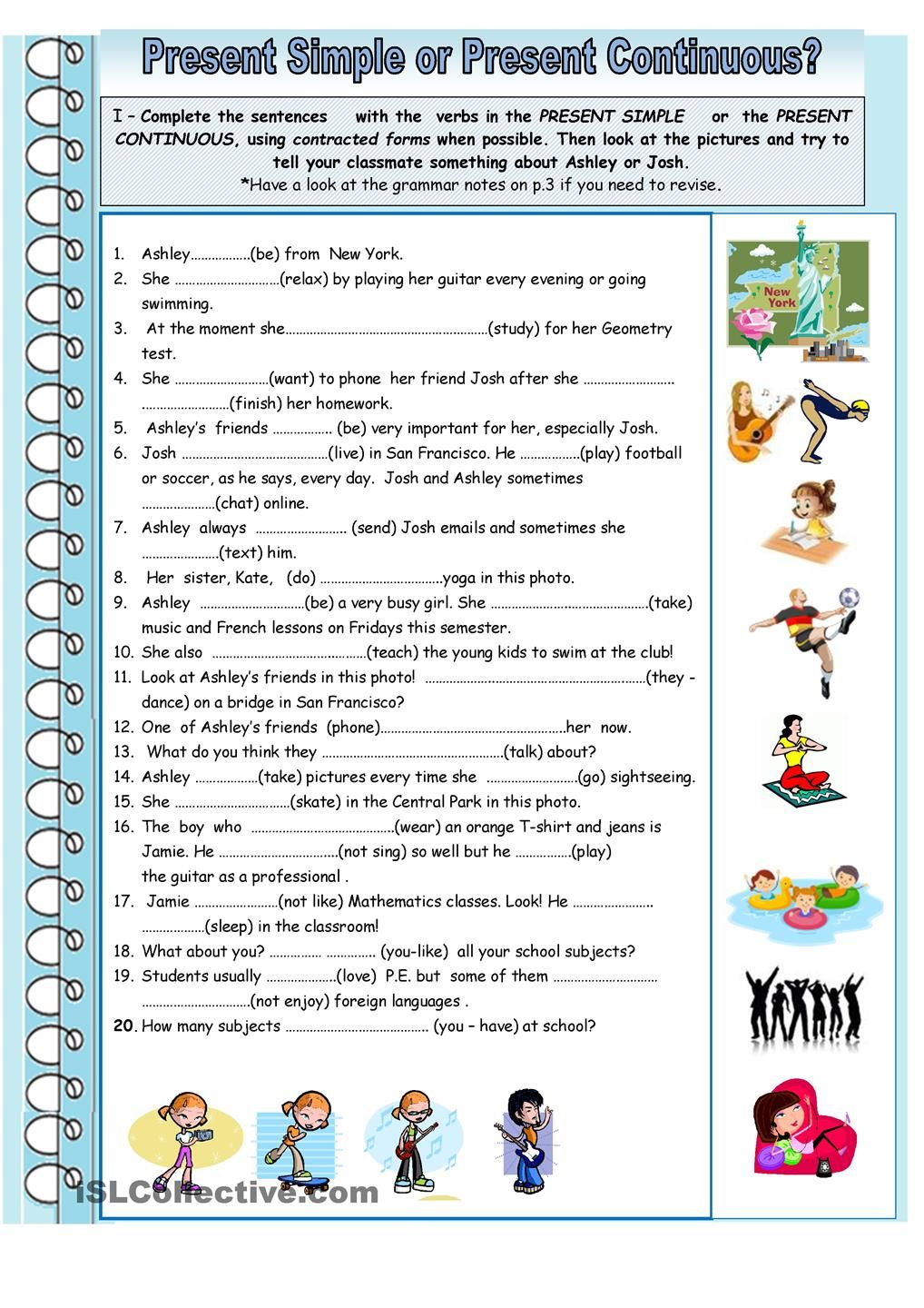 Free Printable Present Continuous Tense Worksheets