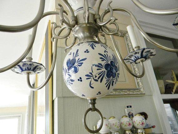Reserved for jeanne i delft chandelier blue white pewter vintage delft chandelier blue white pewter vintage rare by thevintagemomma 65000 aloadofball Gallery