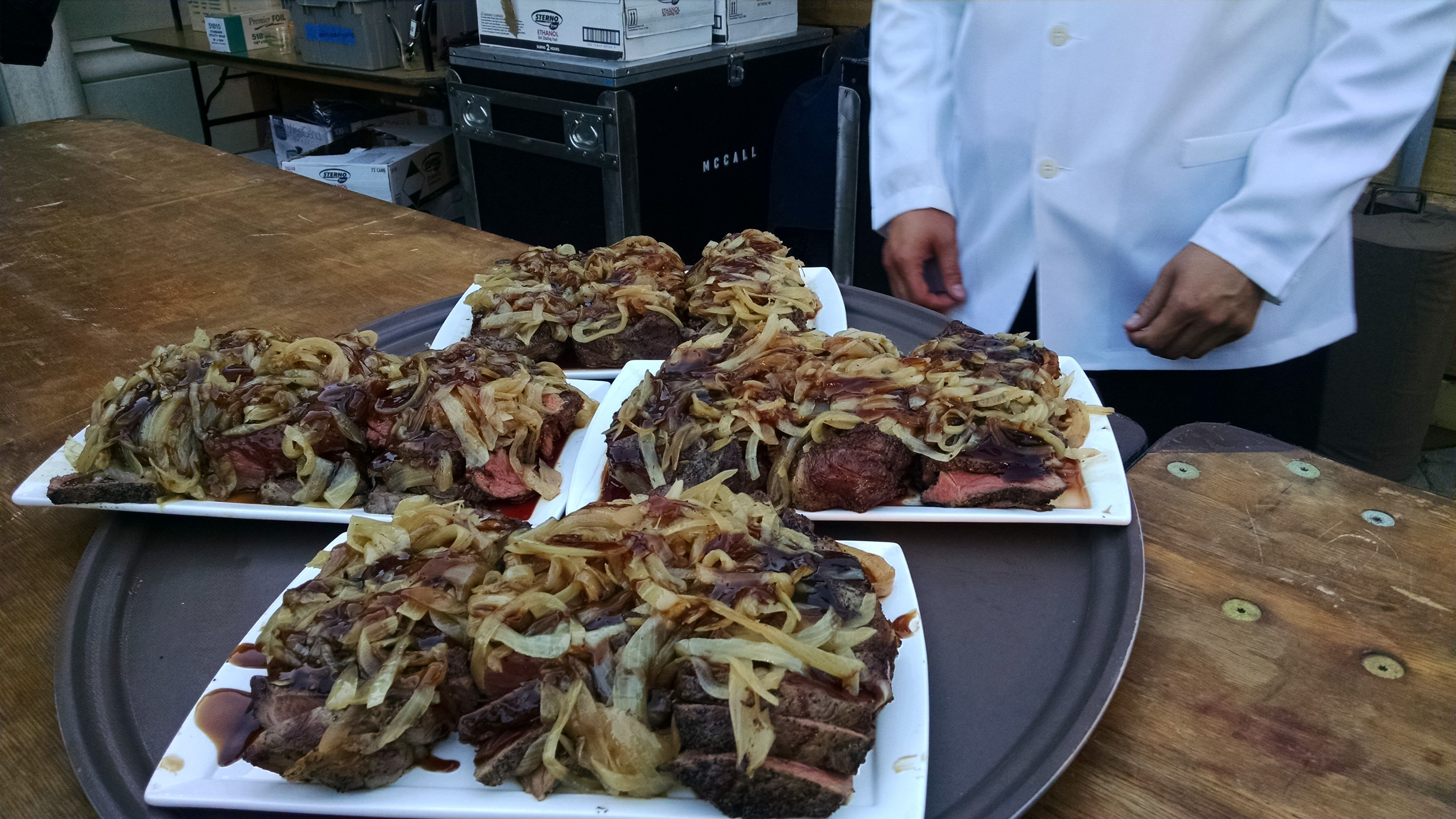 Frank's Style New York Steak with Sauteed Onions and Oyster Sauce