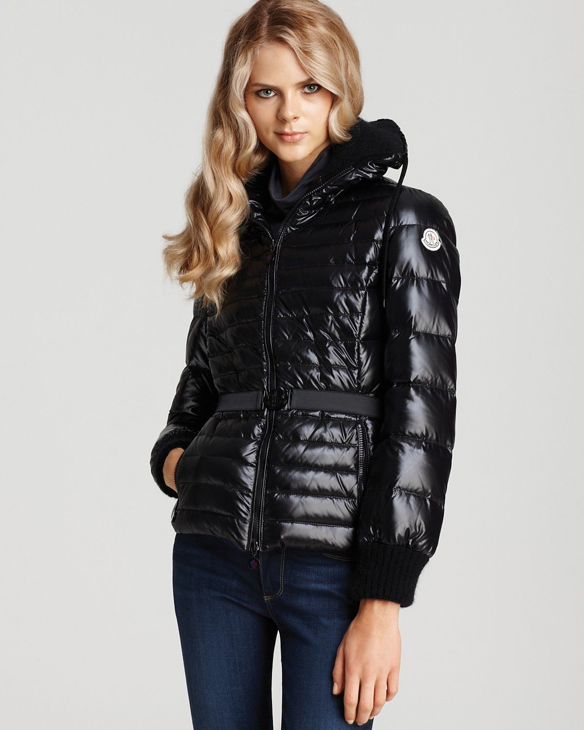 Moncler Belted Down Jacket With Knit Detail Oooh Down Jacket Womens Casual Outfits Jackets [ 1500 x 1200 Pixel ]