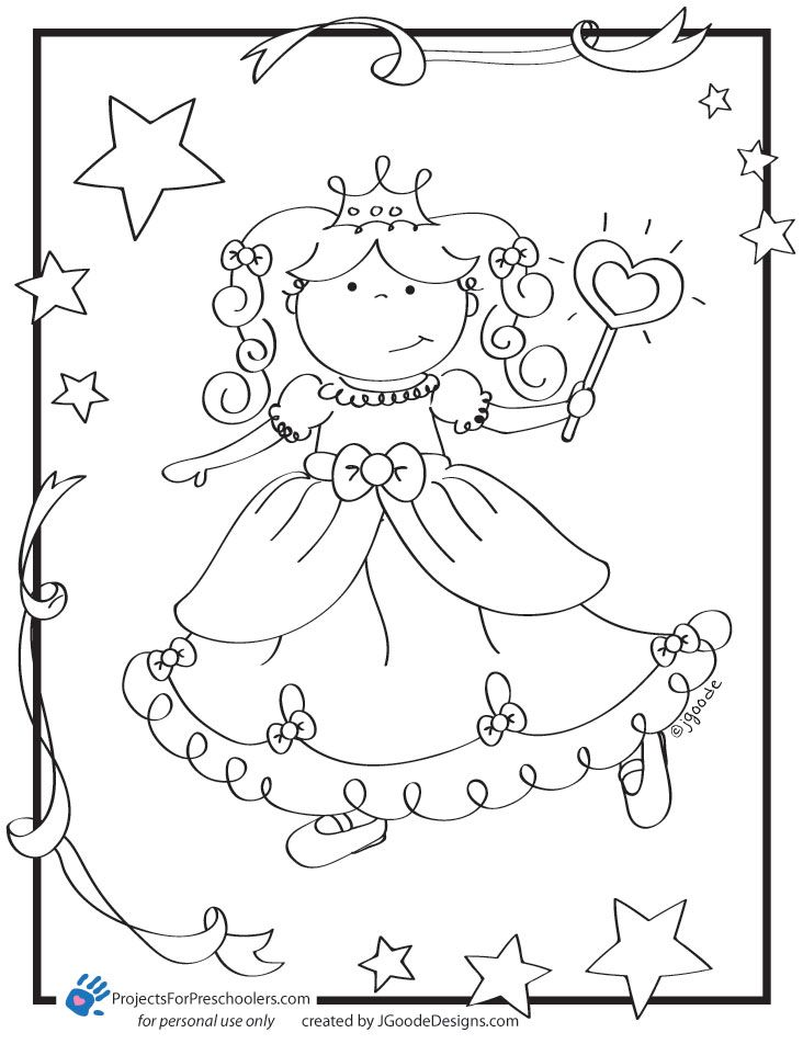 Printable Princess Coloring Page From Projectsforpreschoolers