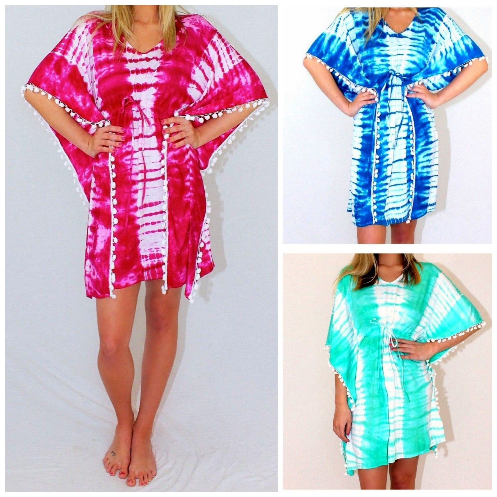 f6685ae36d Tie Dyed Ombre Boho Beach Pom Pom Fringe Kaftan Tunic Cover Up Dress 5  Colors BACK IN STOCK!| eBay