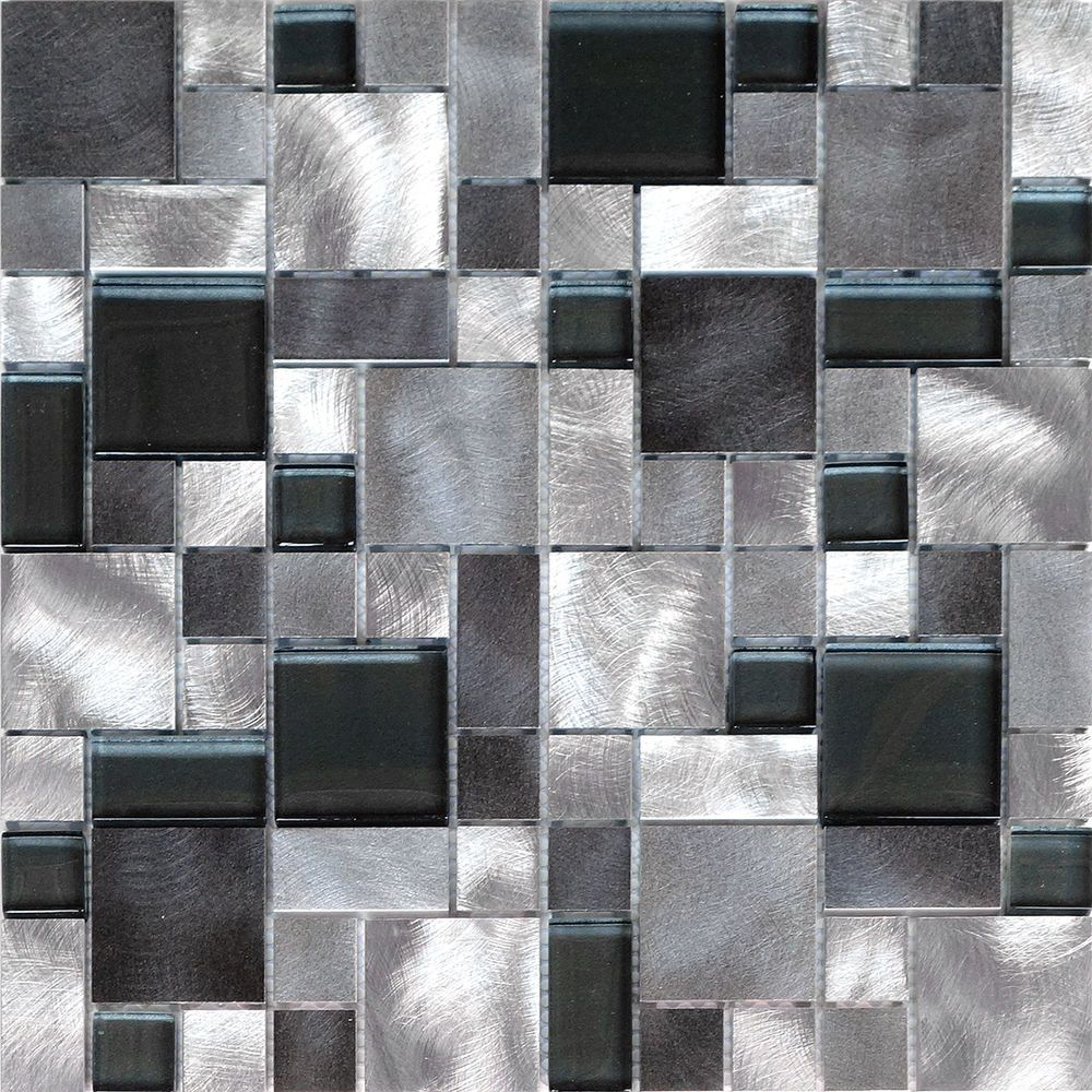 1sf Black Gray Pattern Aluminum Stainless Mosaic Tile Kitchen