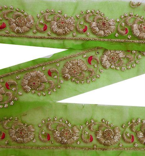 Antique Vintage Sari Border Hand Beaded Trim | Indian Sparkle | Pinterest | Beaded Trim Saris ...