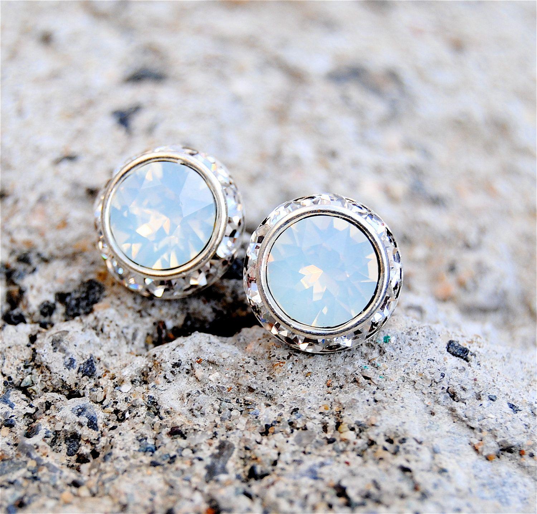 White Opal Earrings Small Sugar Sparklers Swarovski White Opal