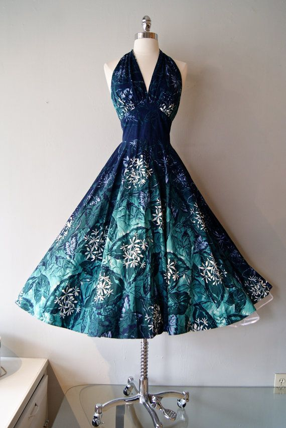 Vintage 1950's Kamehameha Hawaiian Halter Dress | vintage 50s blue print