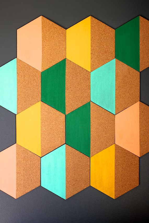 Diy Painted Hexagon Corkboard In 2019 Diy Cork Tiles Diy Dorm