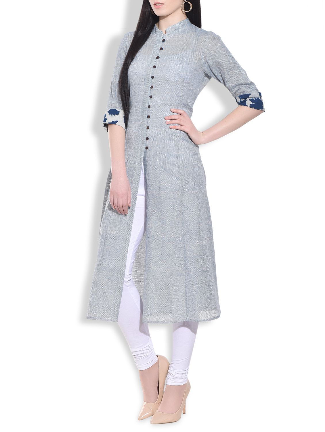 466a4096525 Be a fashionista by wearing this elegant stone blue flared long kurta  available exclusively on Limeroad