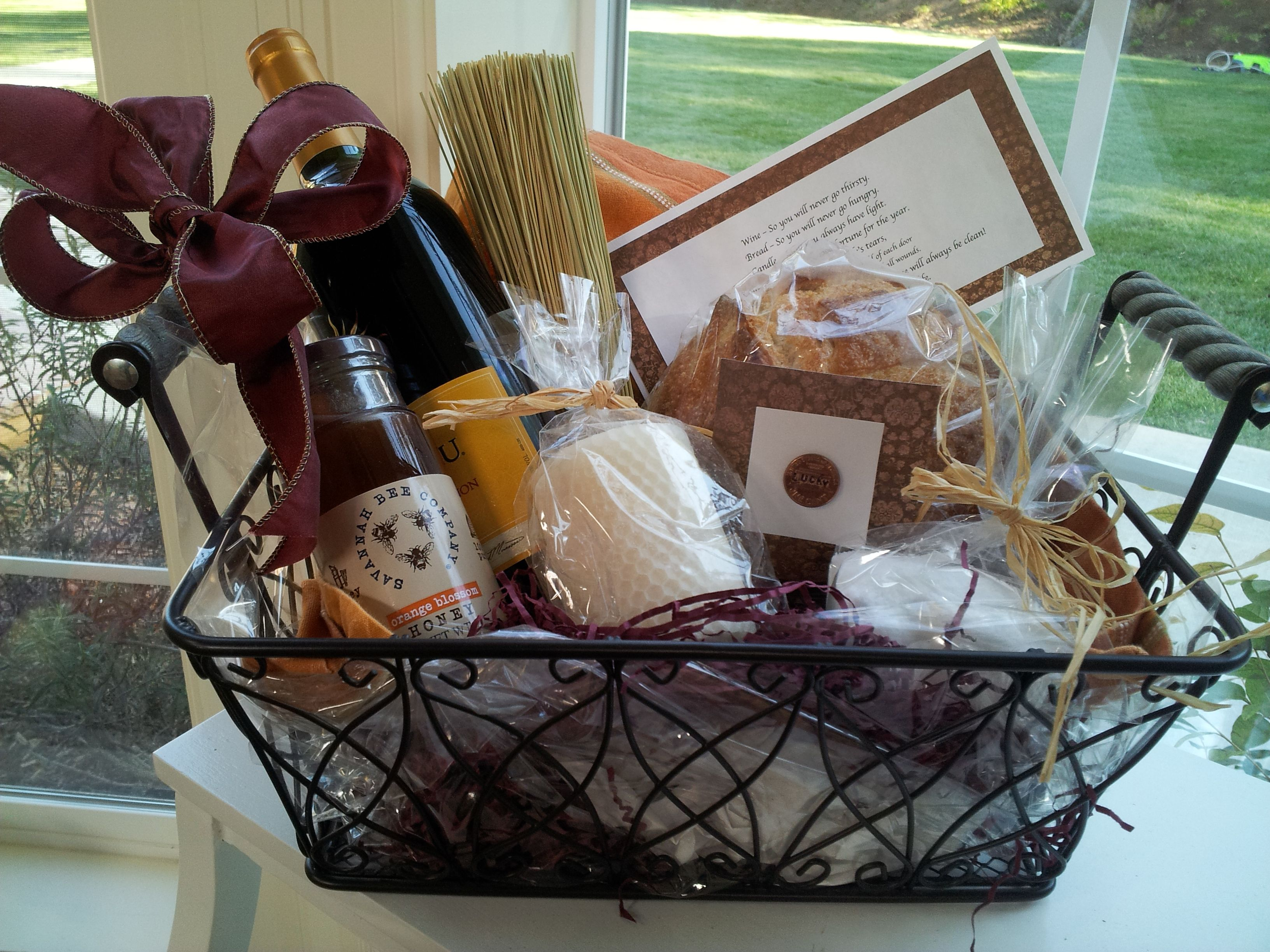 Traditional Housewarming Gift Wine Bread Salt And A