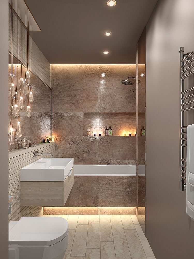 Light Up Your Bathroom Including Your Shower Niches With Water Resistant Led Strip Lights Bathroom Inspiration Modern Modern Bathroom Design Bathroom Interior