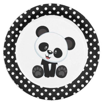 sc 1 st  Pinterest & Panda Bear Black and White Paper Plates | White paper