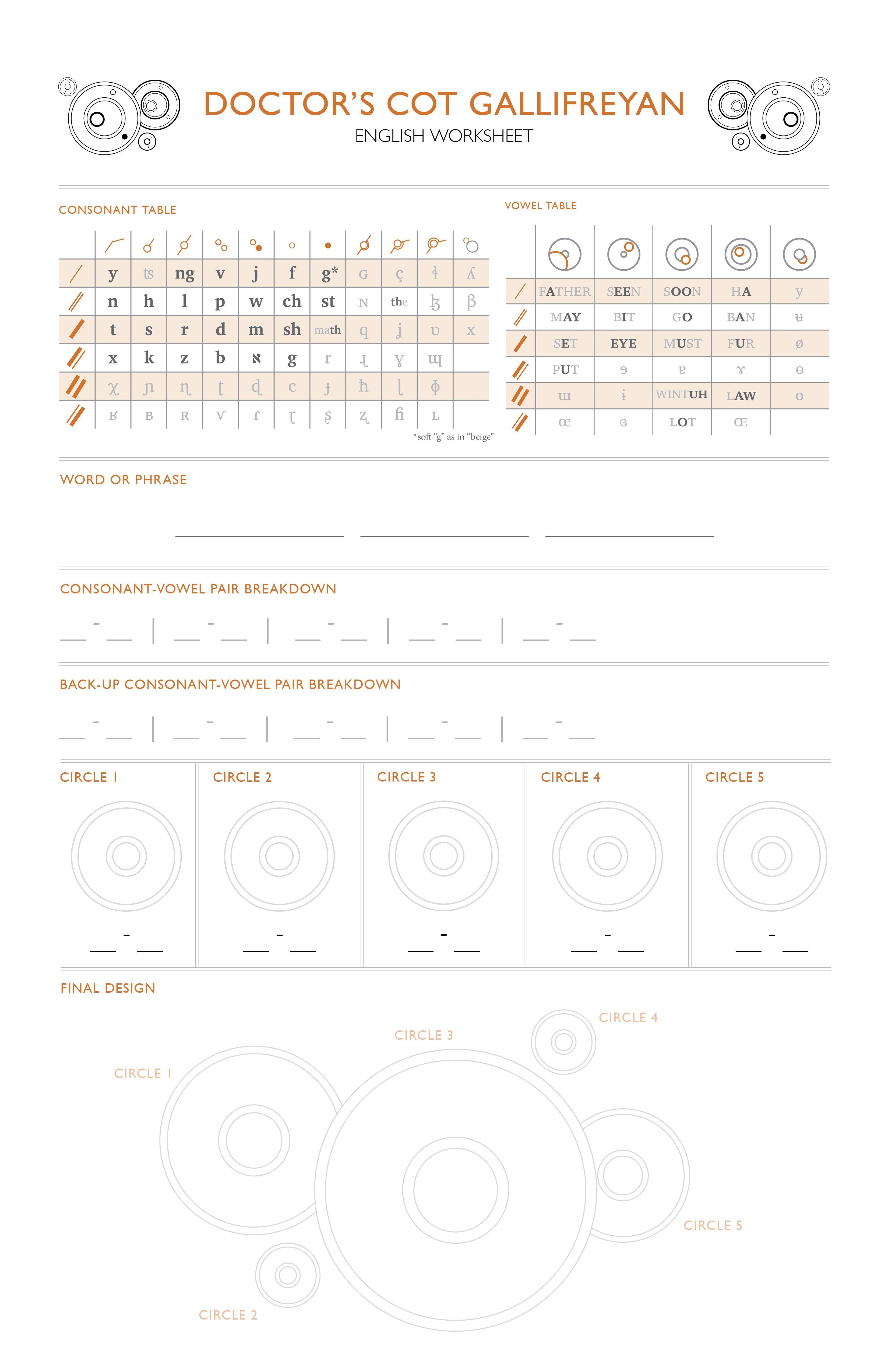 Learn Gallifreyan English Worksheet
