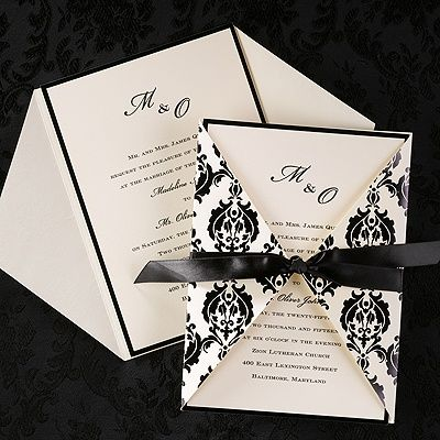 Wrapped in Elegance Black Design Wedding Invitations Thin shiny