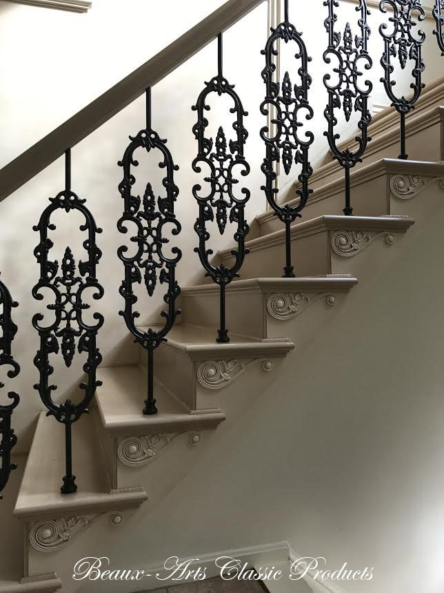 Louis Xiv Wall Panels Foyer Design Project Beaux Arts Classic   Stair Railing Design Iron   L Shape   Home   Residential   Aluminum   Oak And Iron