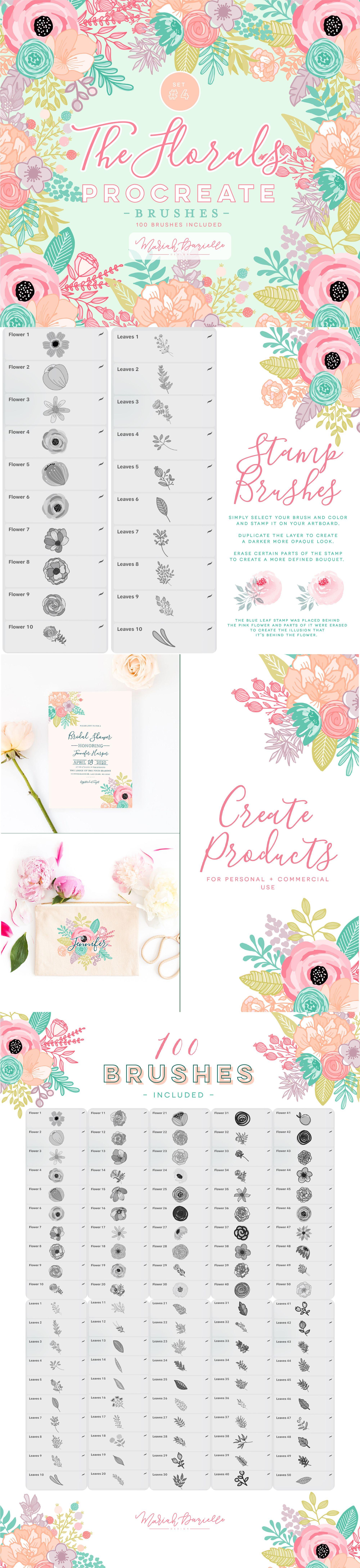 Procreate Flower Brushes, 100 Procreate Brushes, Floral