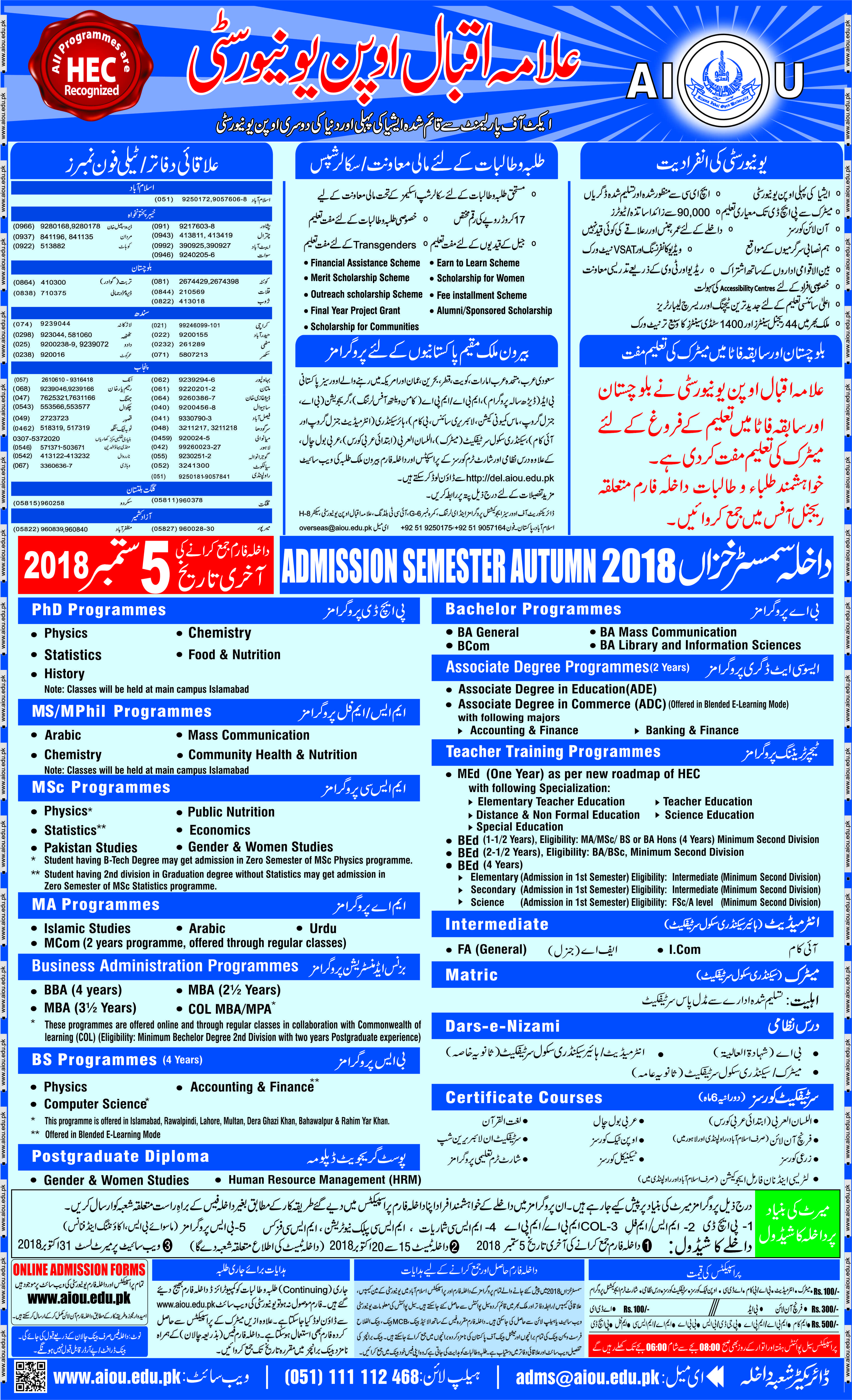 AIOU Admission 2018 is open in Allama Iqbal Open University