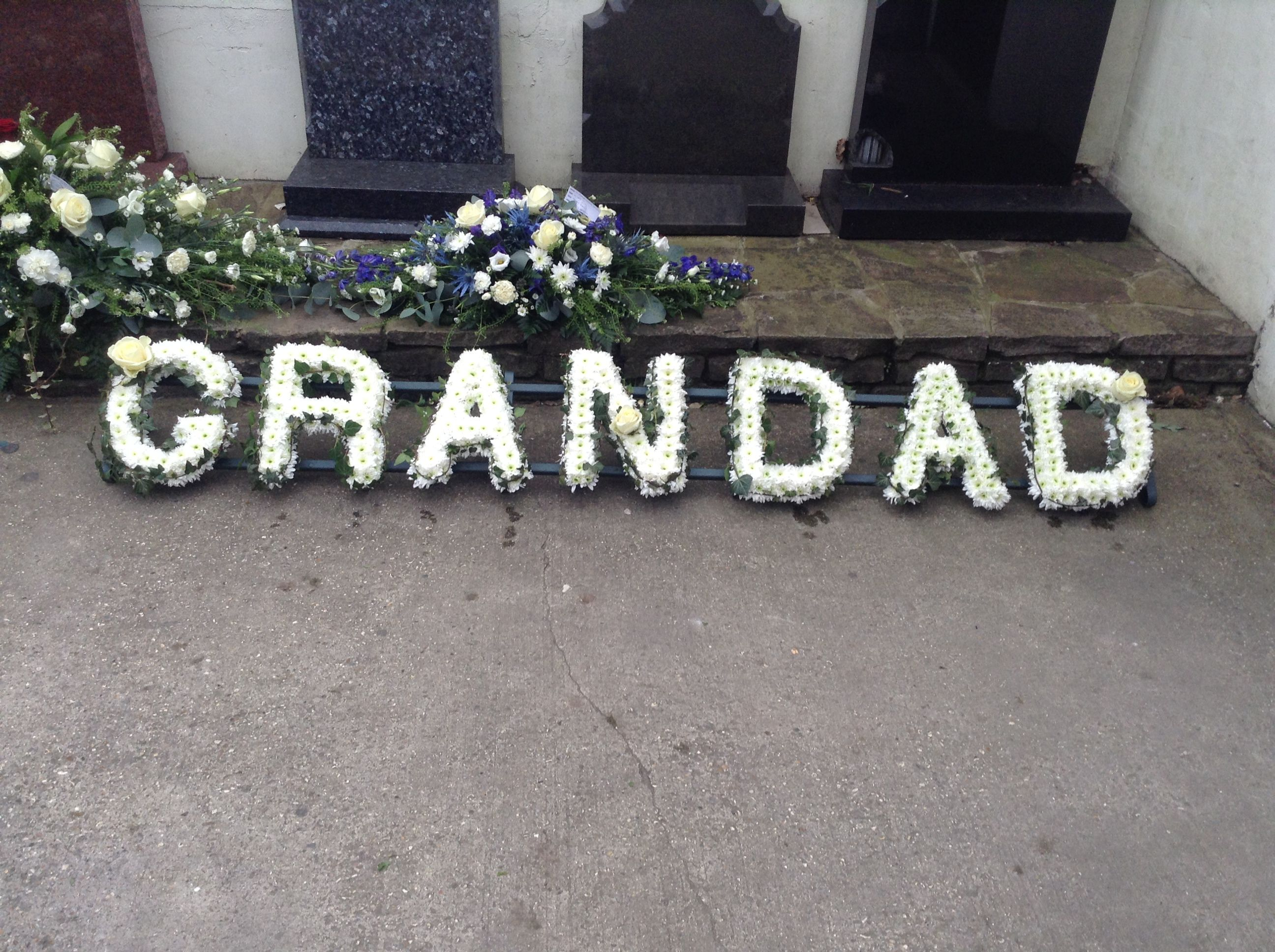 Funeral flowers grandad funeral flower letter tribute white funeral flowers grandad funeral flower letter tribute white flowers with ivy edging and white dhlflorist Choice Image