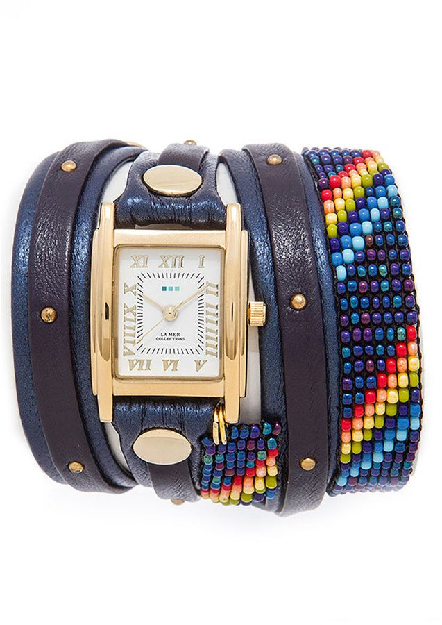 La Mer Navy Guatemalan Wrap Watch