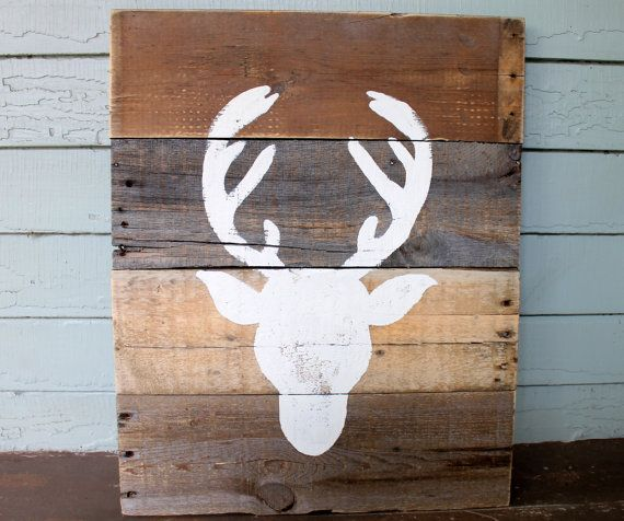 Handmade Hand Painted Rustic Country Deer Head Repurposed Wooden Wood  Pallet Boards Art Artwork Painting Project