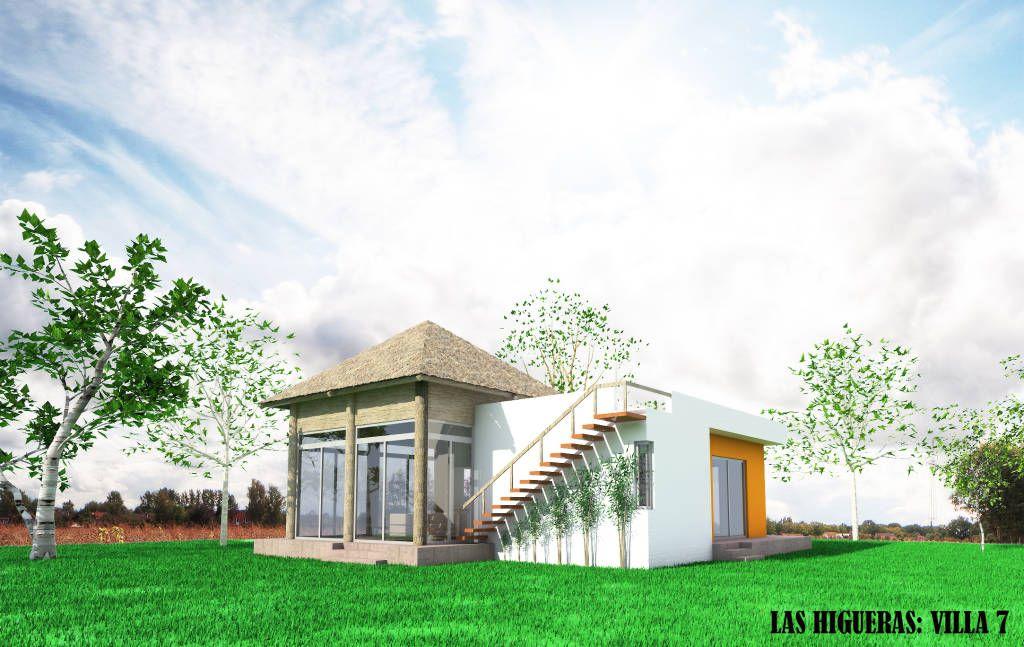 Busca imágenes de Casas de estilo rústico en blanco: Fachada Villa Campestre. Encuentra las mejores fotos para inspirarte y crea tu hogar perfecto.