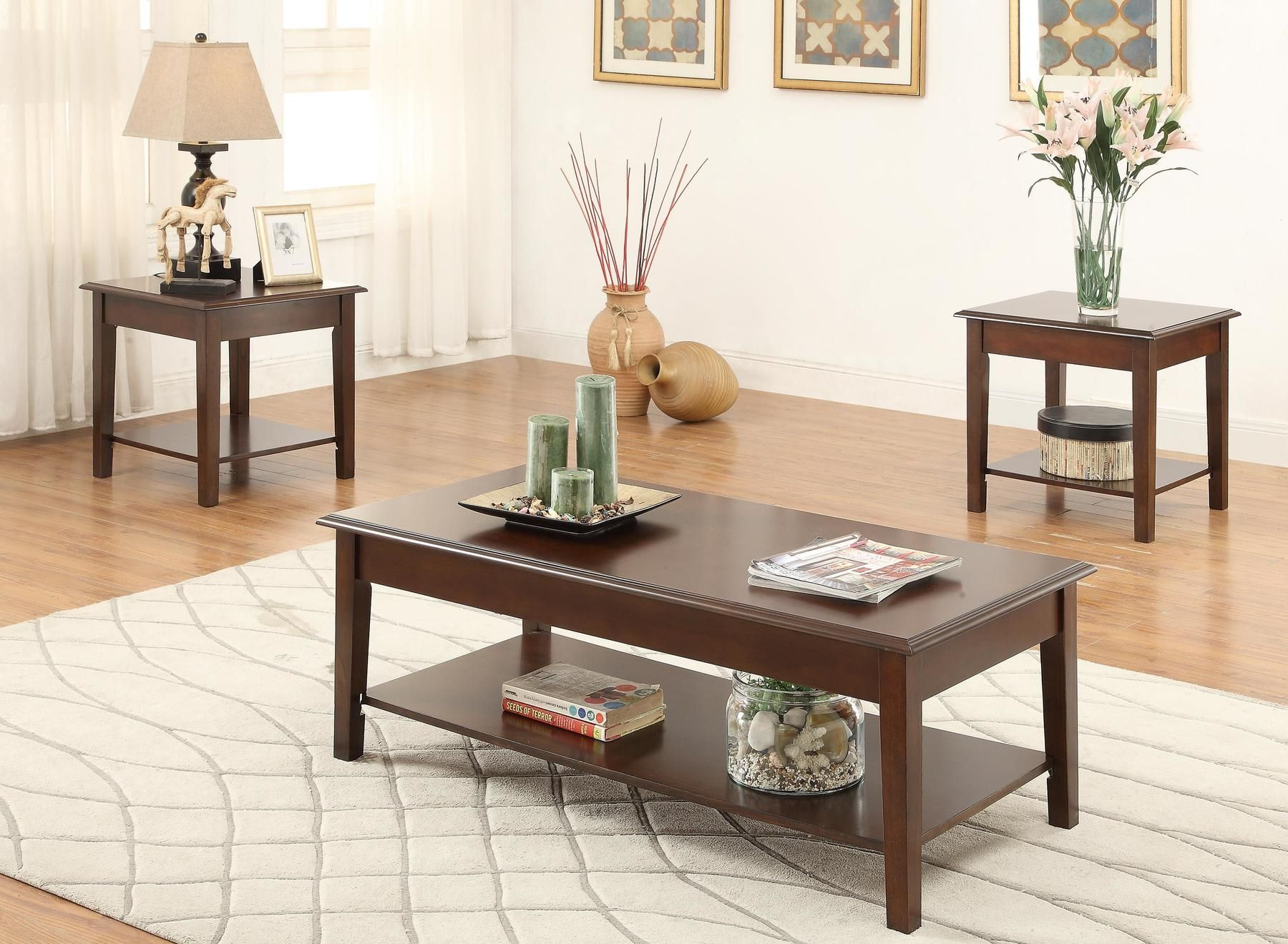 P3139 Coffee Table 2 End Tables F3139 Poundex Coffee Tables In 2021 Coffee Table 3 Piece Coffee Table Set Coffee Table Wood [ 1320 x 1800 Pixel ]