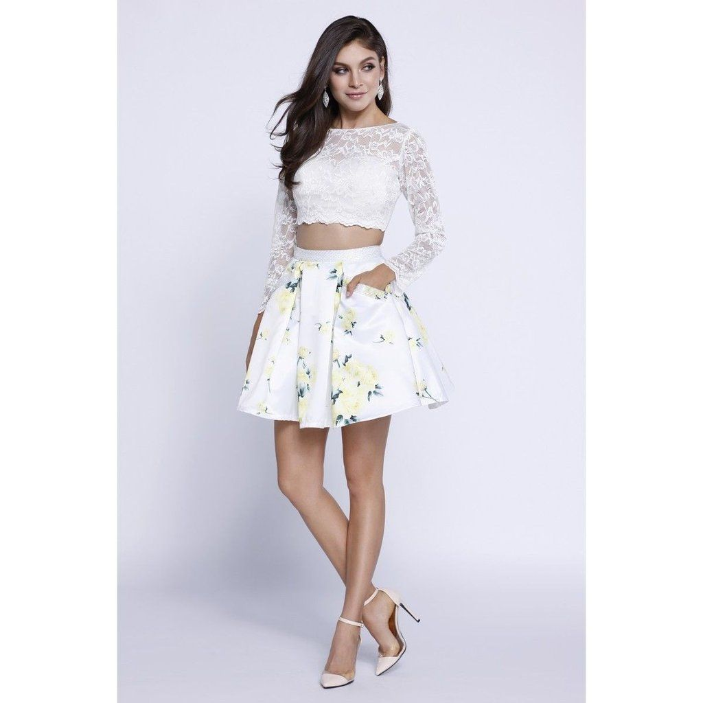 Prom short two piece set dress floral print cocktail homecomingthe