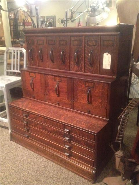 Oak Antique Cabinet- c 1900. Globe Wernecke, stacking stepdown Map Cabinet. Original finish. Wonderful condition. Outstanding piece. In TIger Oak.