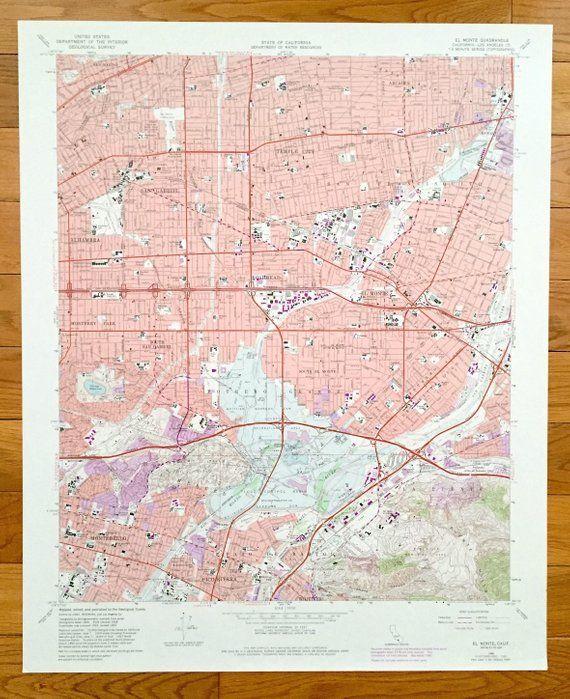 San Marino California Map.Antique El Monte California 1966 Us Geological Survey Topographic