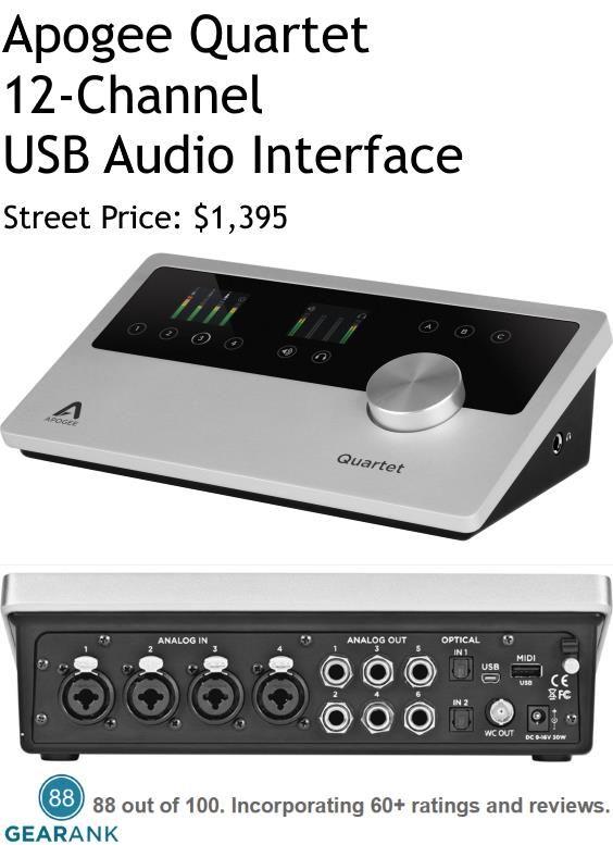 Apogee Quartet 12 Channel Usb Audio Interface Simultaneous I O