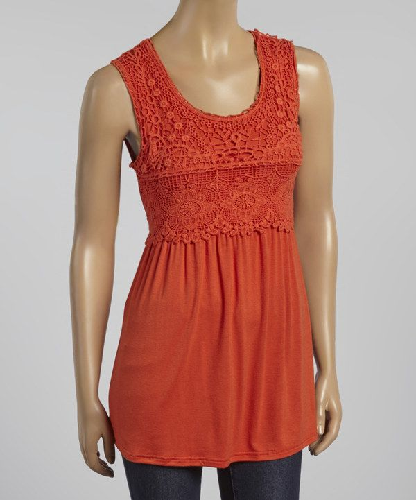Look at this Burnt Orange Crocheted Sleeveless Tunic on #zulily today!