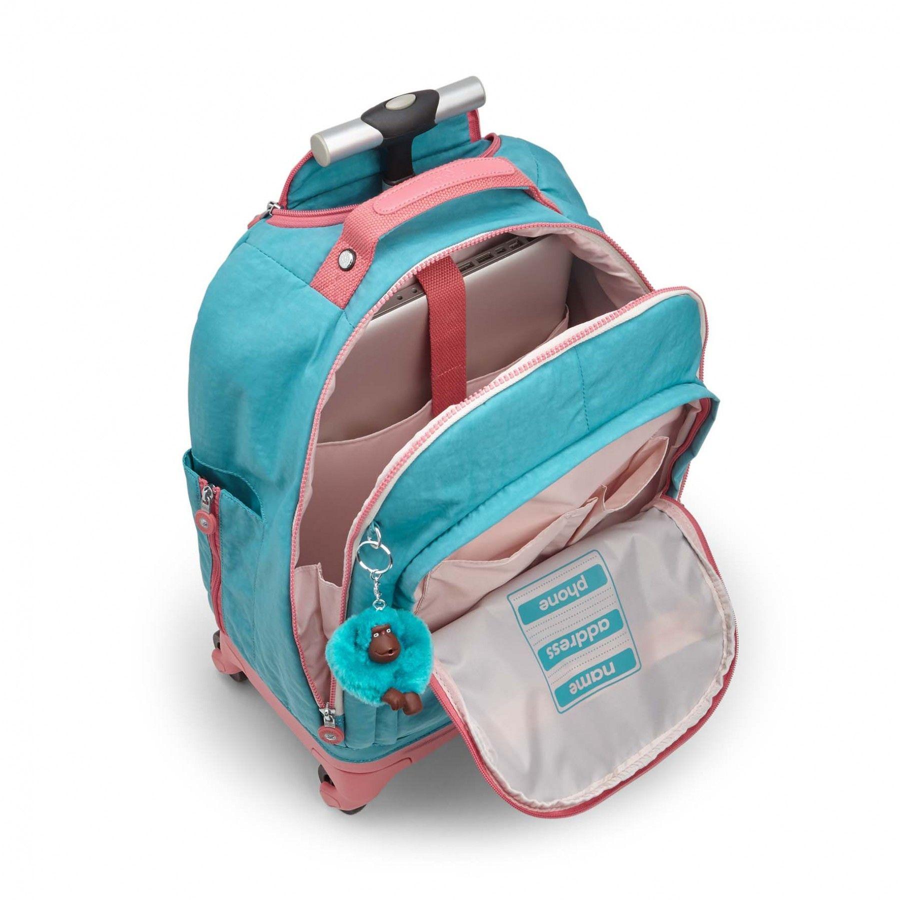 By Backpacks Bright InsideSchool Wheeled Kipling Echo Aqua C deCxBro