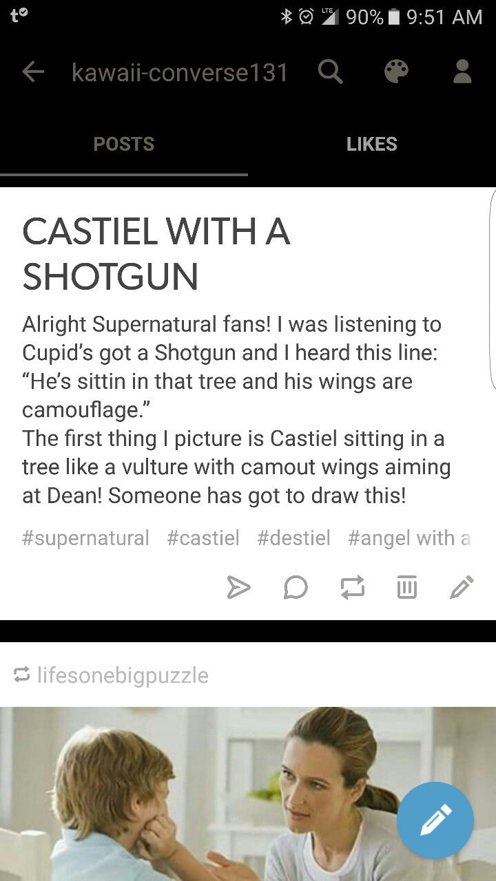 Castiel with a shotgun Someone draw this!! | Team Free Will