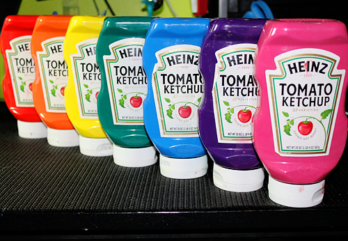 Recycle ketchup containers for paint bottles...clever!
