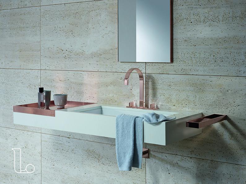 Deze badkamer kraan is niet alleen uniek vanwege de rosé gouden