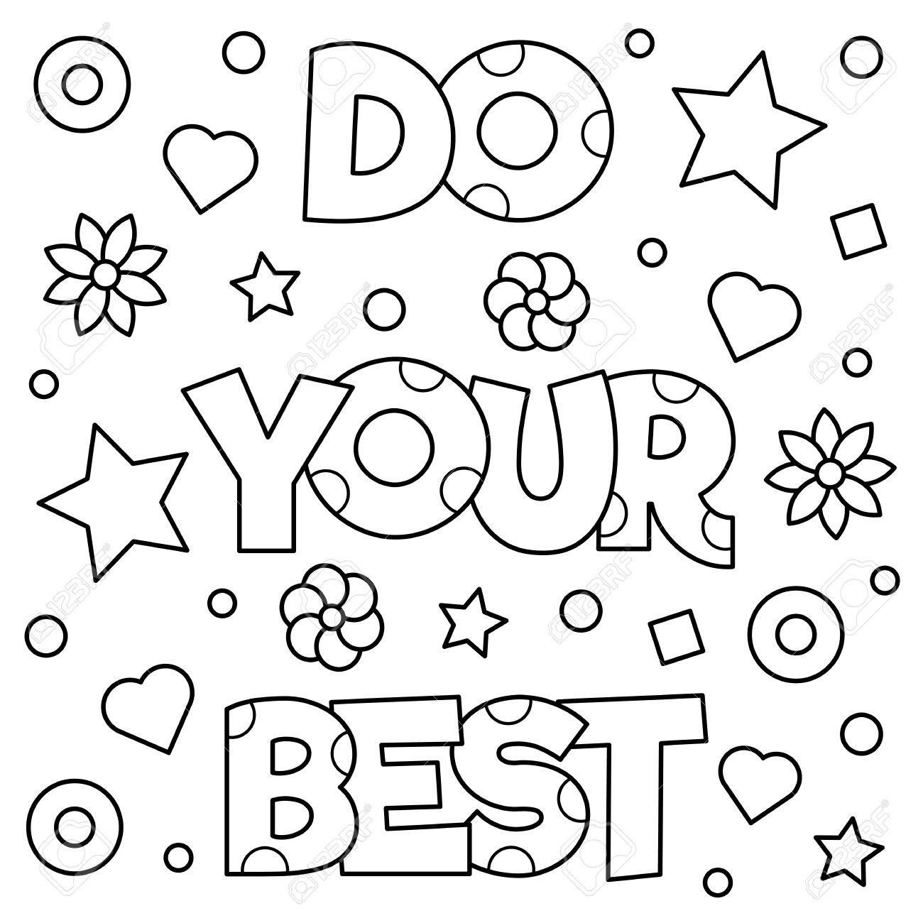 Do Your Best Coloring Page Vector Illustration Quote Coloring Pages Easy Coloring Pages Coloring Pages Inspirational