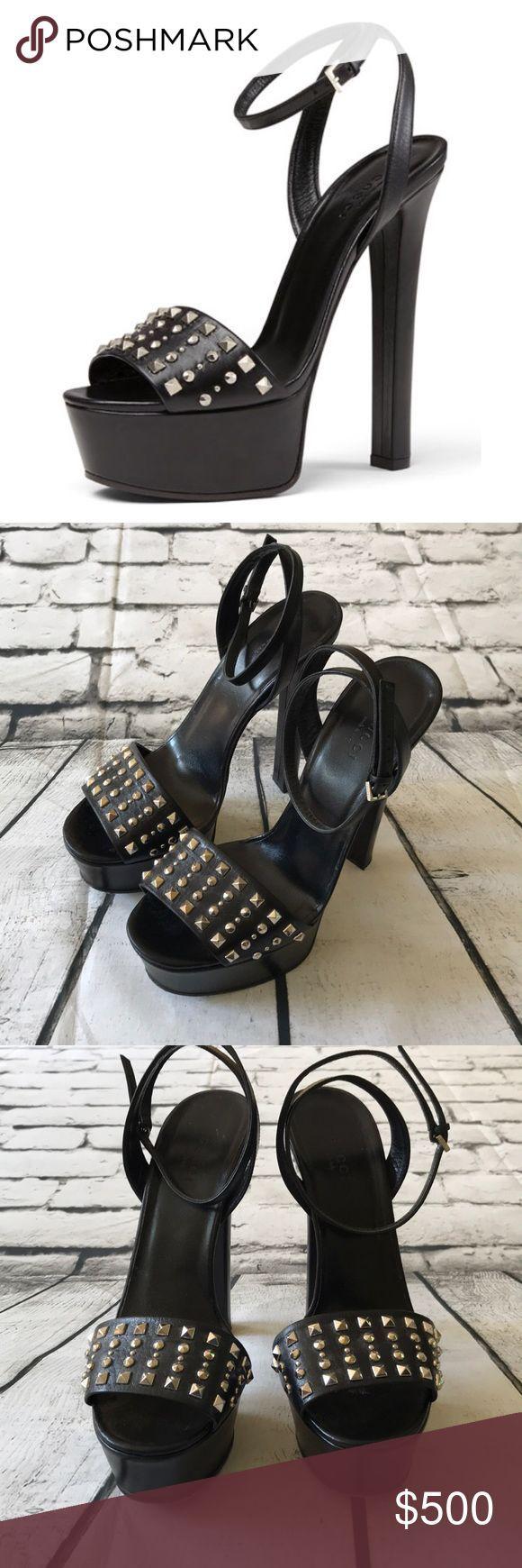Gucci Leila Plateausandale mit Nieten Schwarze Sandalen Gucci Ledersandale mit   My Posh Picks