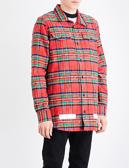 54d72d771364 OFF-WHITE C O VIRGIL ABLOH Distressed checked cotton shirt