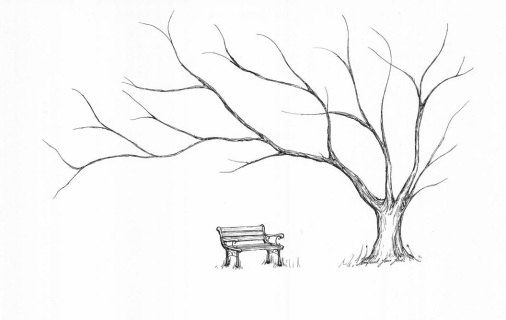 11x13 Thumbprint Tree Guest Book Hawthorne A01 Tree Art Guest Book Tree Landscape Paintings