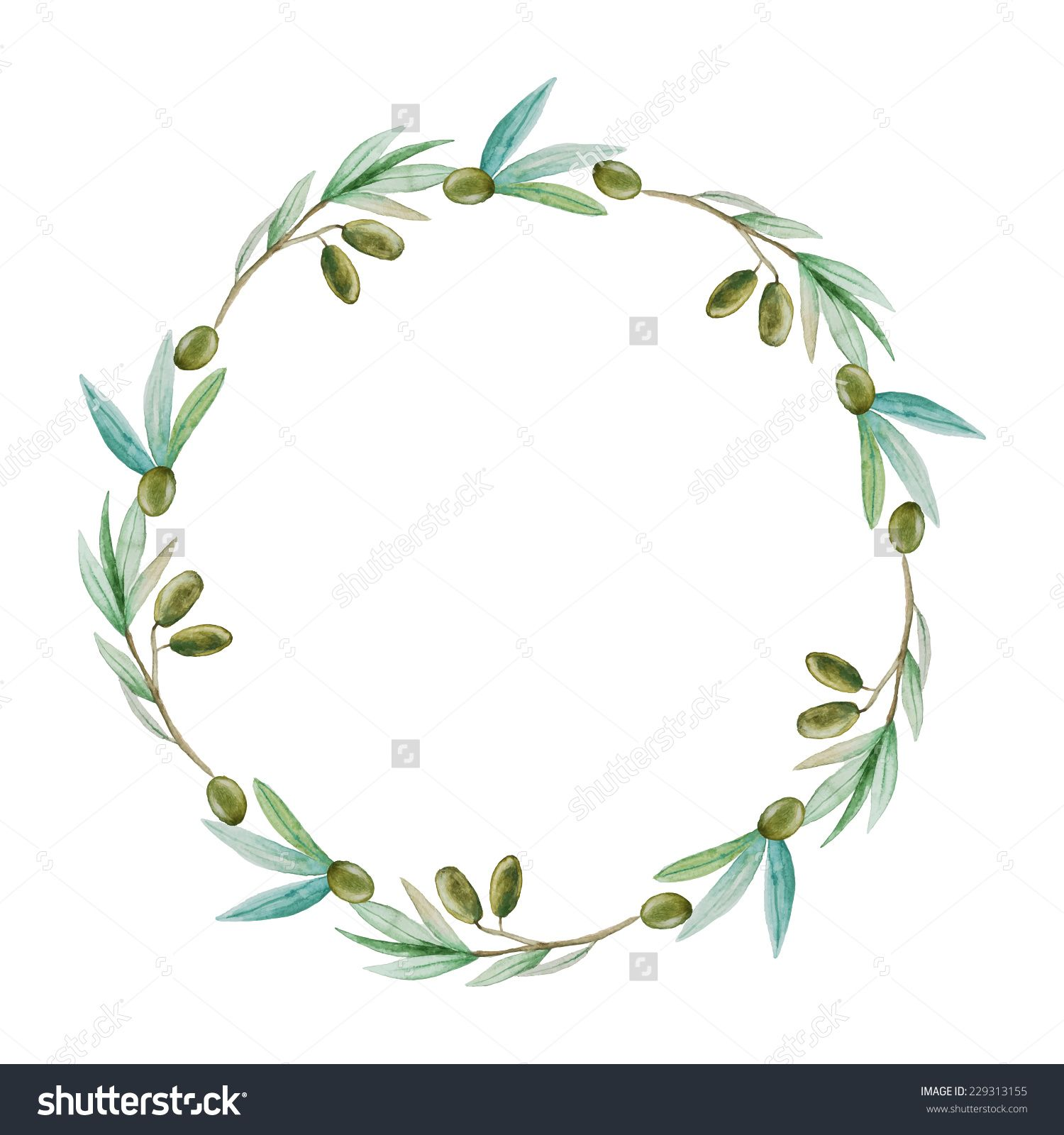 Watercolor Olive Branch Wreath Hand Drawn Natural Vector Frame