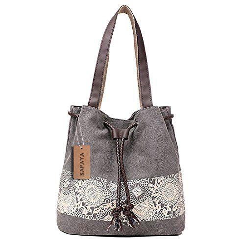 bb8abaeed050d DNFC Damen Handtasche Canvas Schultertasche Umhängetasche Damen Shopper  Tasche Schöne Vintage Henkeltasche Beuteltasche (Grau)