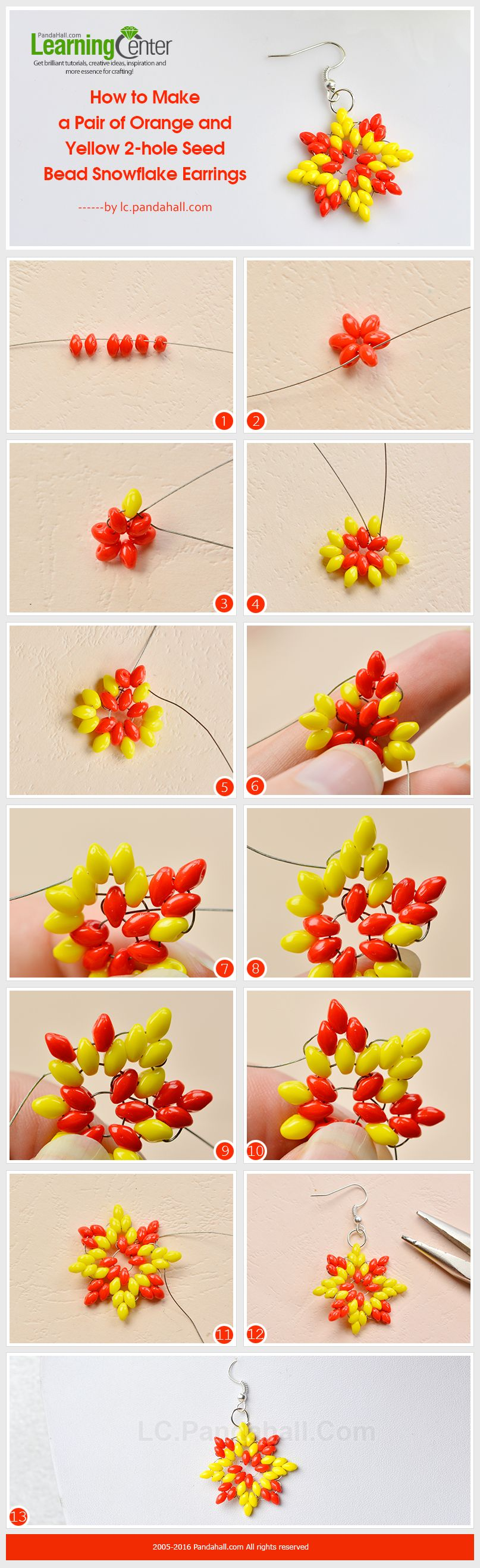 How to Make a Pair of Orange and Yellow 2-hole Seed Bead Snowflake Earrings from LC.Pandahall.com