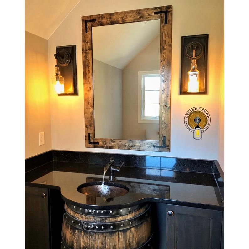 Rustic Distressed Mirror With Oil Rubbed Bronze Corner Etsy